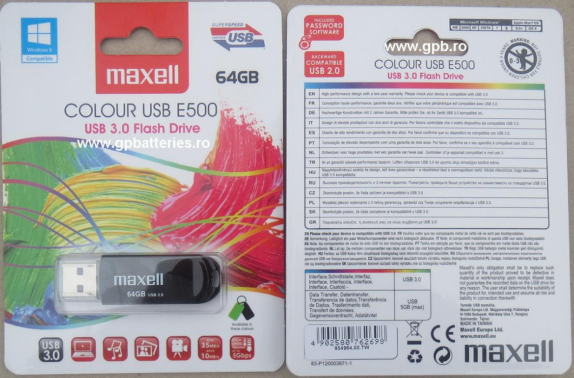 Card memorie USB 3.0 stick 64Gb Maxell