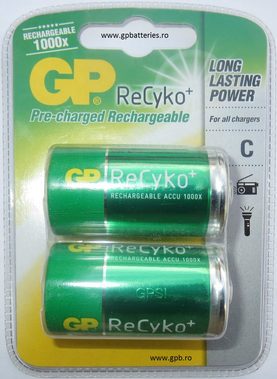 Acumulator Ni-MH 3000mA R14 C GP Batteries Recyko blister 2