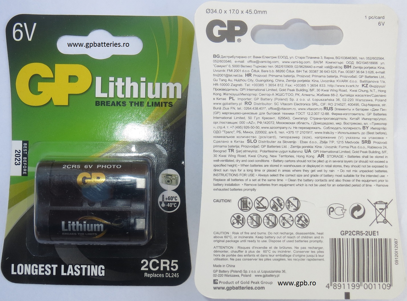 Baterie litiu 6V 2CR5 GP Batteries