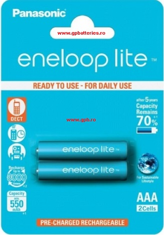 Eneloop acumulator ready to use Ni-MH AAA (R3) 550mA lite Power Blister 2